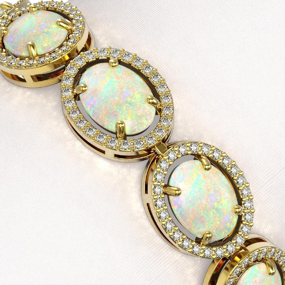 18.33 CTW Opal & Diamond Halo Bracelet 10K Yellow Gold - 2