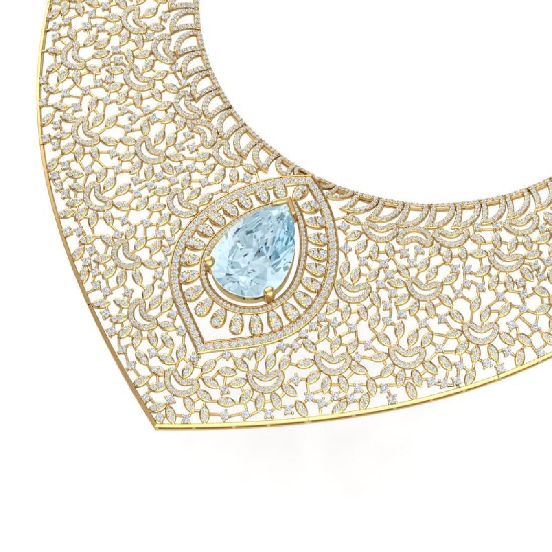 63.27 CTW Royalty Sky Topaz & VS Diamond Necklace 18K