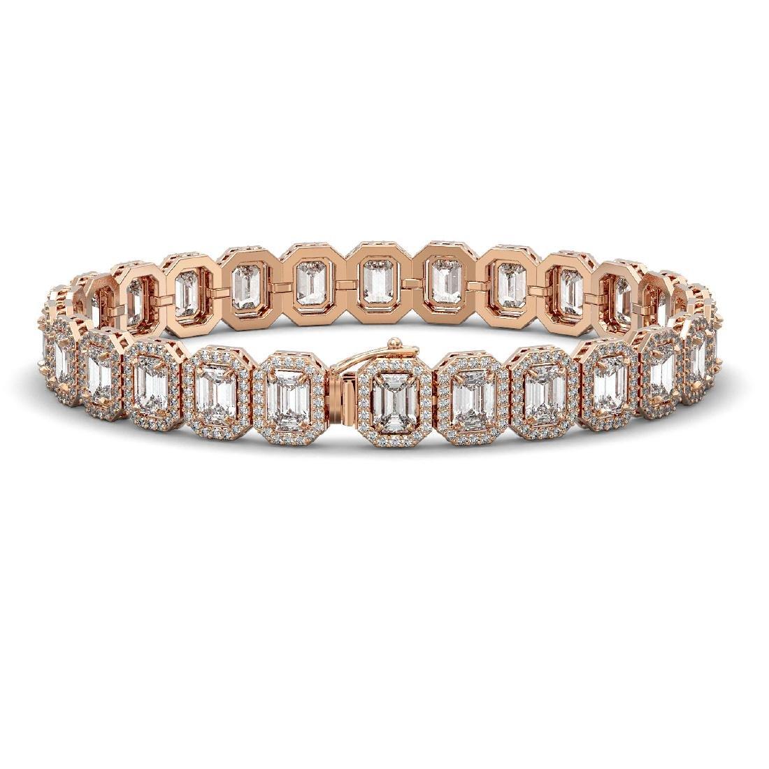 20.25 CTW Emerald Cut Diamond Designer Bracelet 18K - 2