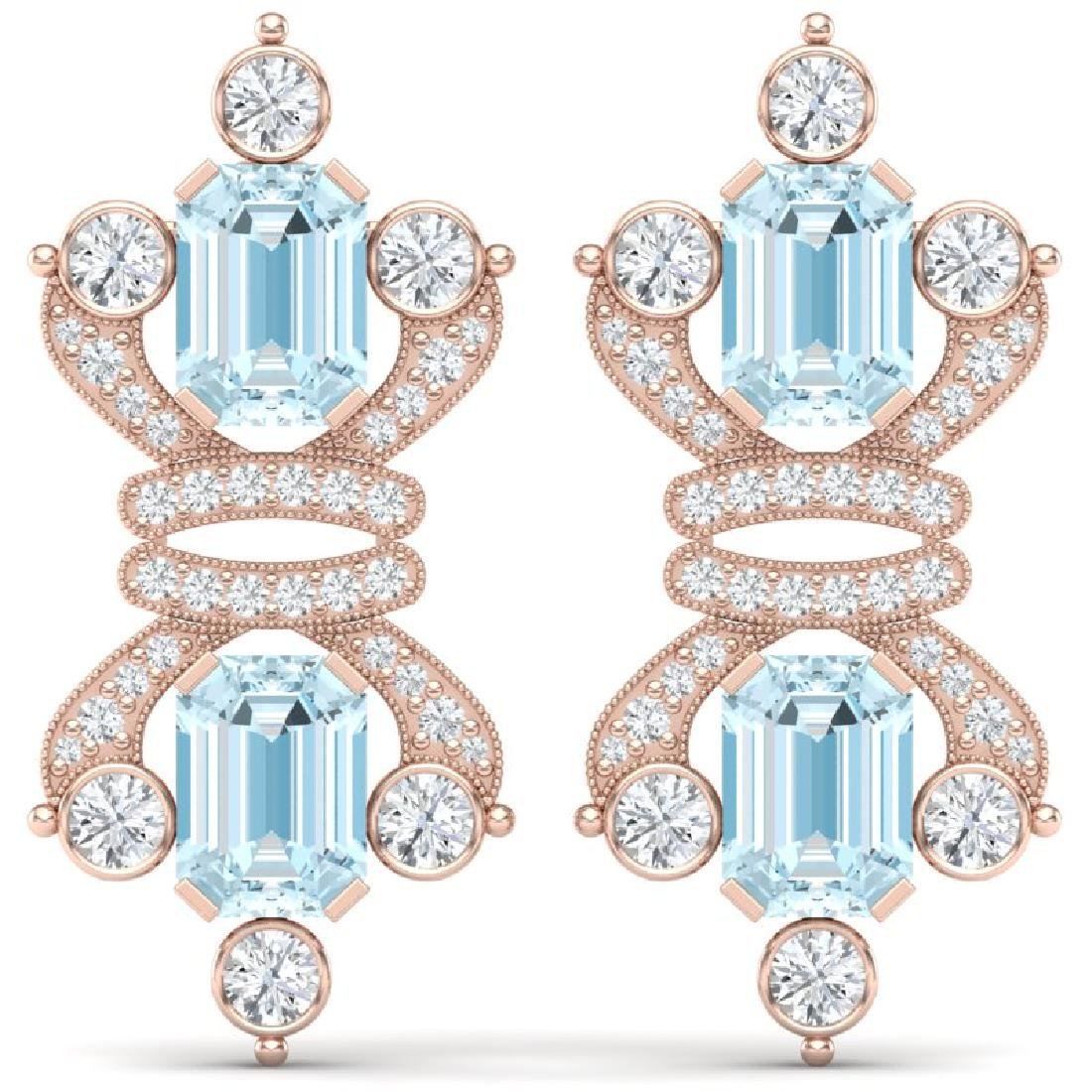 28.39 CTW Royalty Sky Topaz & VS Diamond Earrings 18K