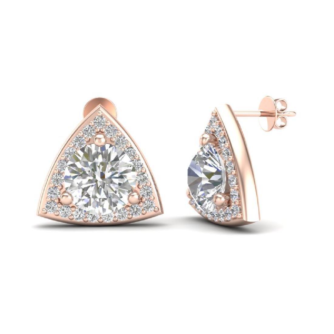 3 CTW VS/SI Diamond Stud Earrings 14K Rose Gold - 2