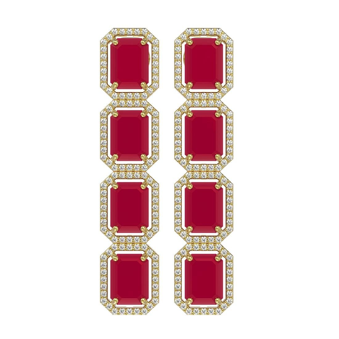 20.59 CTW Ruby & Diamond Halo Earrings 10K Yellow Gold