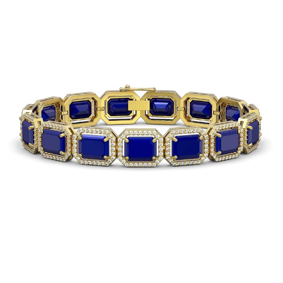38.61 CTW Sapphire & Diamond Halo Bracelet 10K Yellow