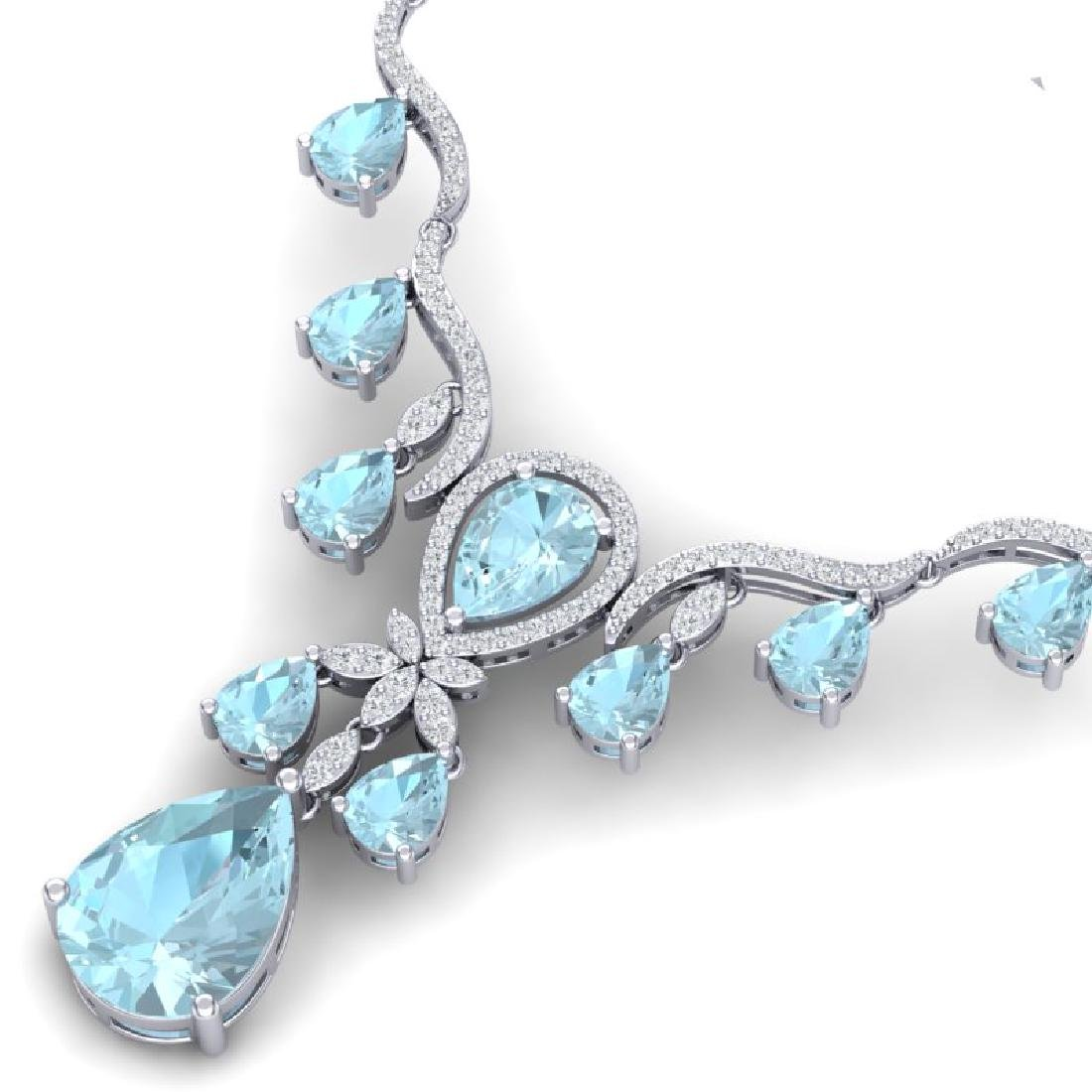 38.14 CTW Royalty Sky Topaz & VS Diamond Necklace 18K - 2