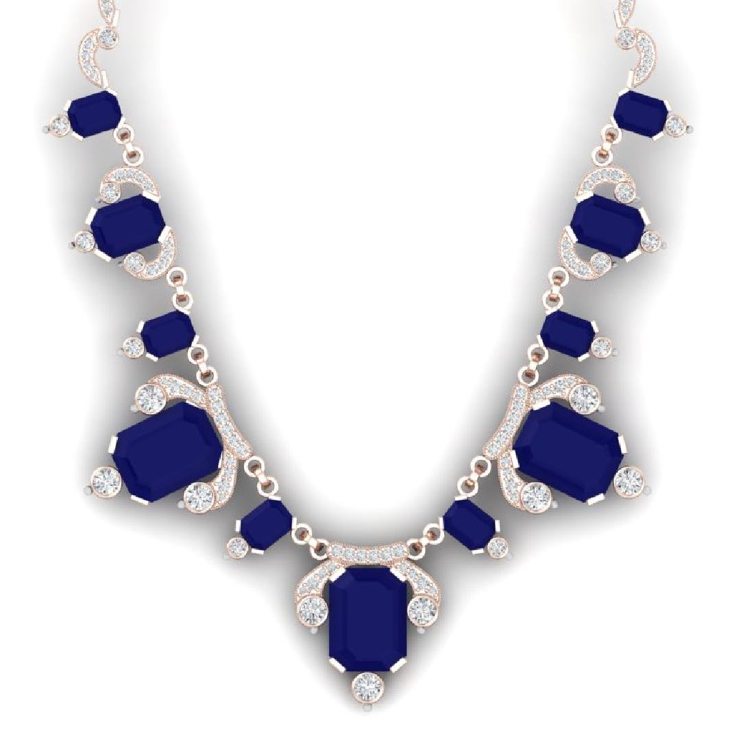 75.21 CTW Royalty Sapphire & VS Diamond Necklace 18K