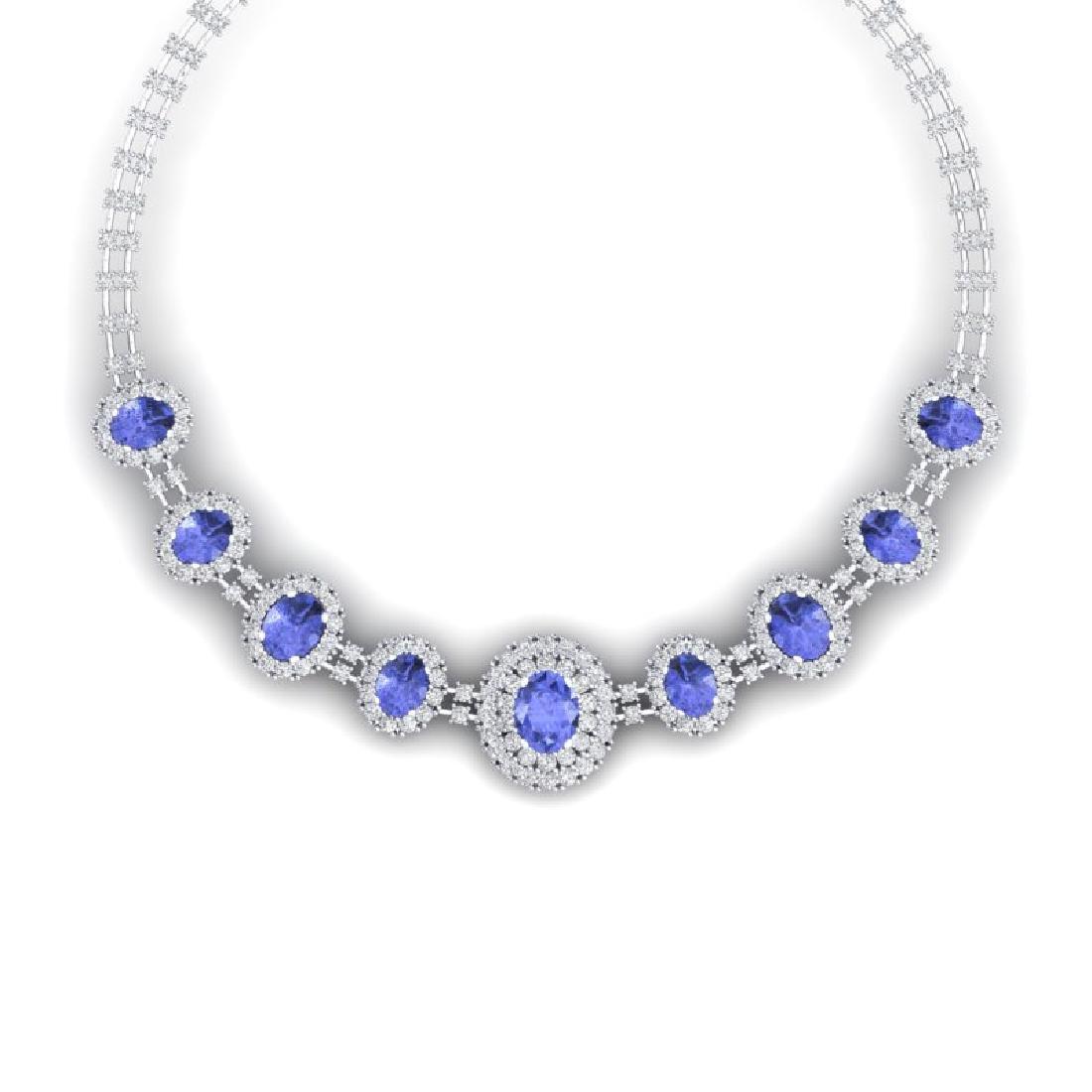 46.51 CTW Royalty Tanzanite & VS Diamond Necklace 18K