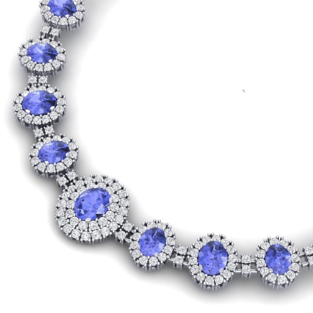 46.51 CTW Royalty Tanzanite & VS Diamond Necklace 18K - 2