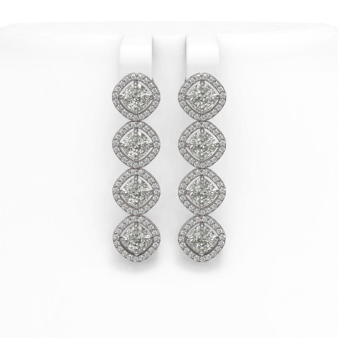 5.85 CTW Cushion Cut Diamond Designer Earrings 18K