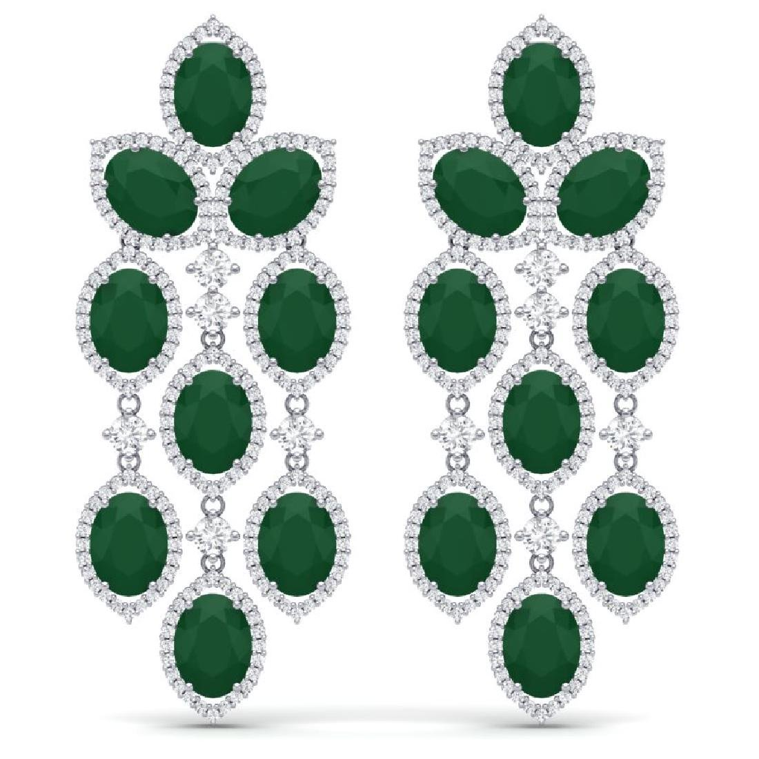 26.15 CTW Royalty Emerald & VS Diamond Earrings 18K