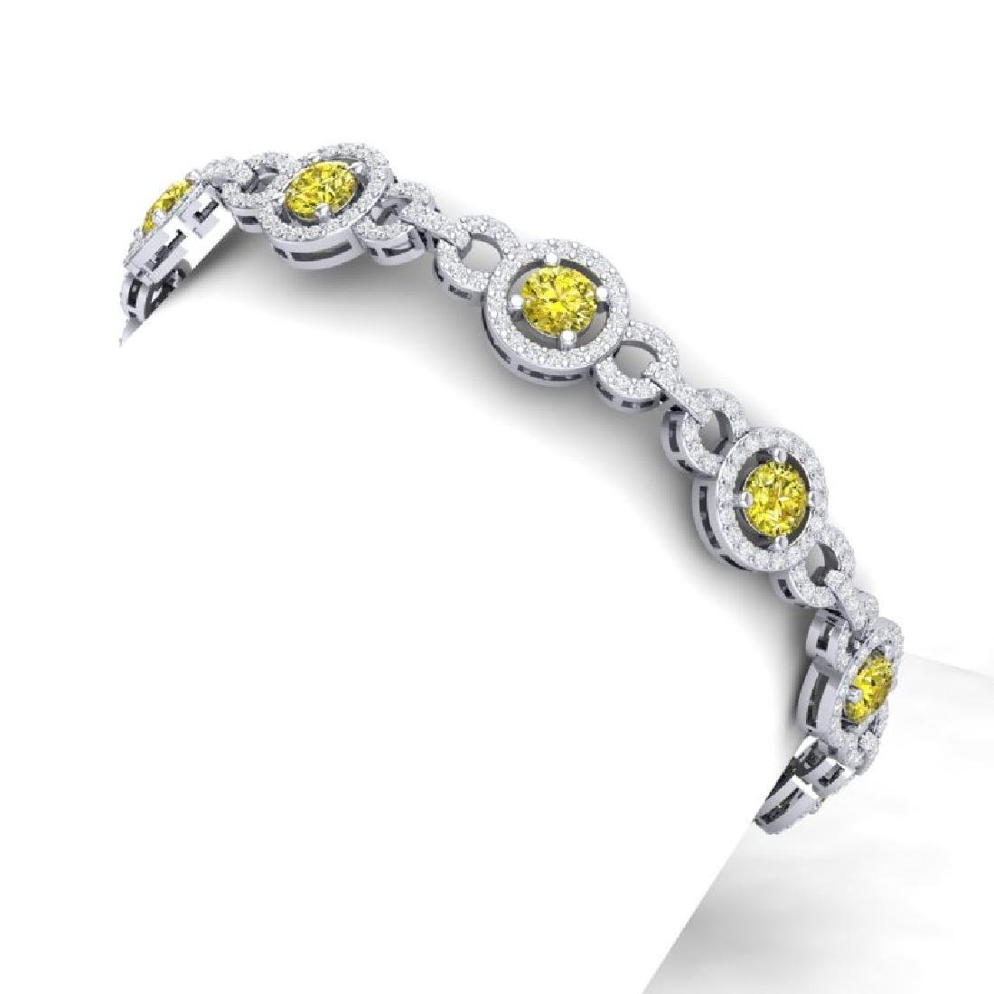 9 CTW SI/I Fancy Yellow And White Diamond Bracelet 18K