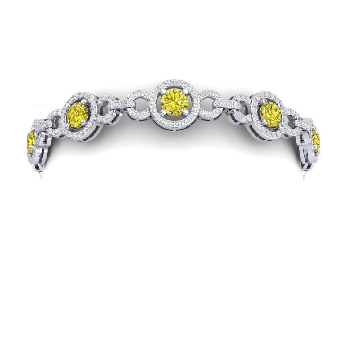 9 CTW SI/I Fancy Yellow And White Diamond Bracelet 18K - 2