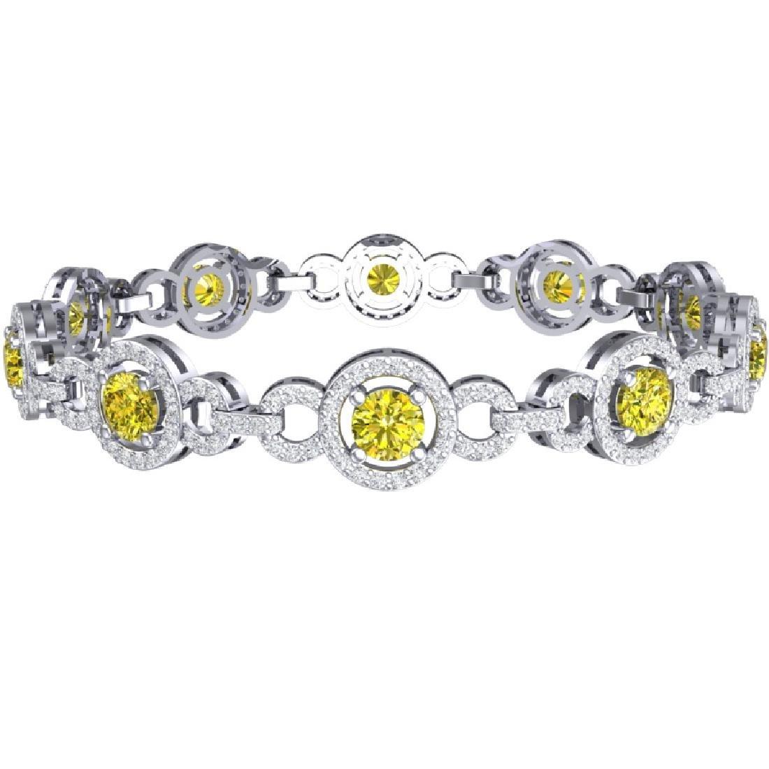 9 CTW SI/I Fancy Yellow And White Diamond Bracelet 18K - 3