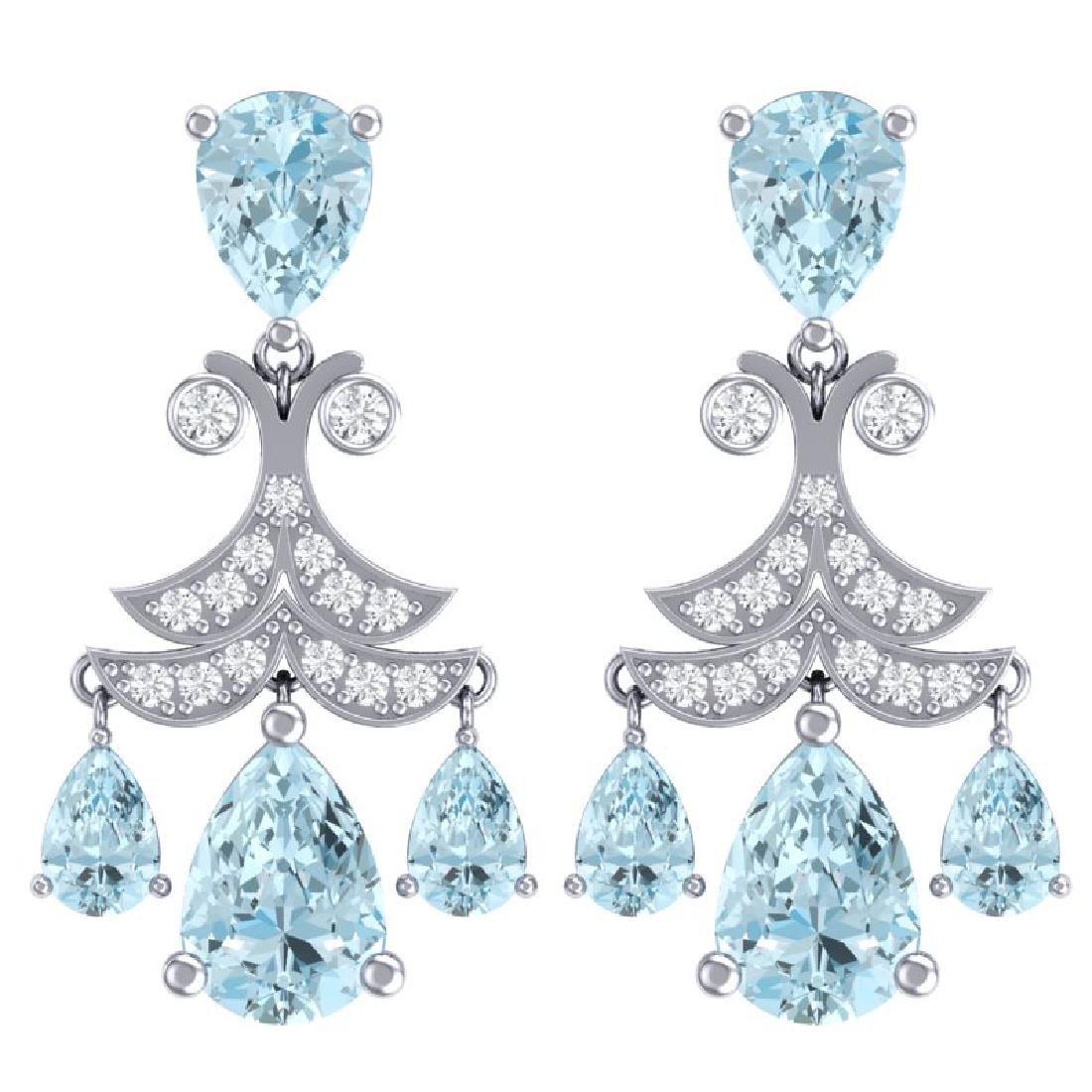 11.35 CTW Royalty Sky Topaz & VS Diamond Earrings 18K
