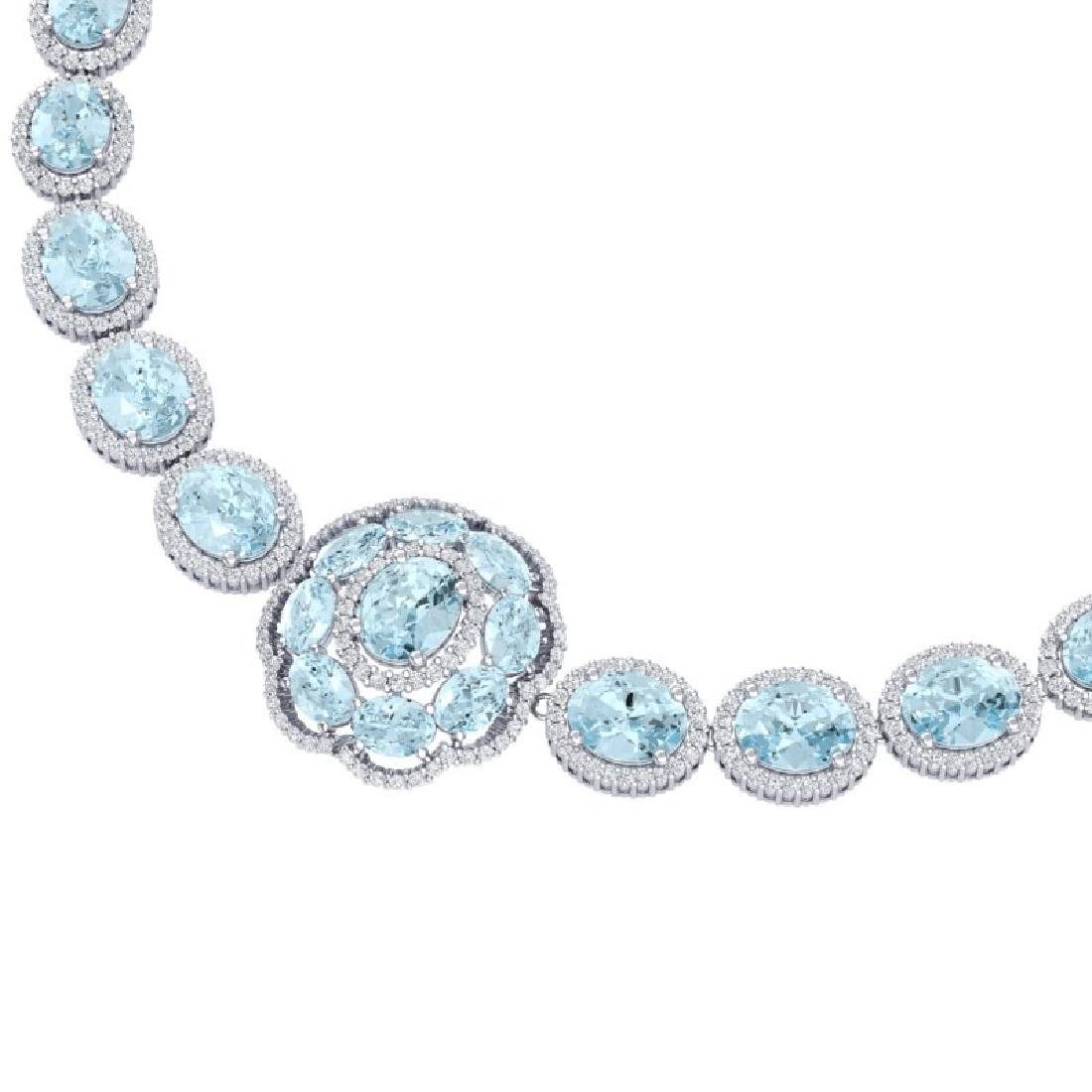 52.67 CTW Royalty Sky Topaz & VS Diamond Necklace 18K