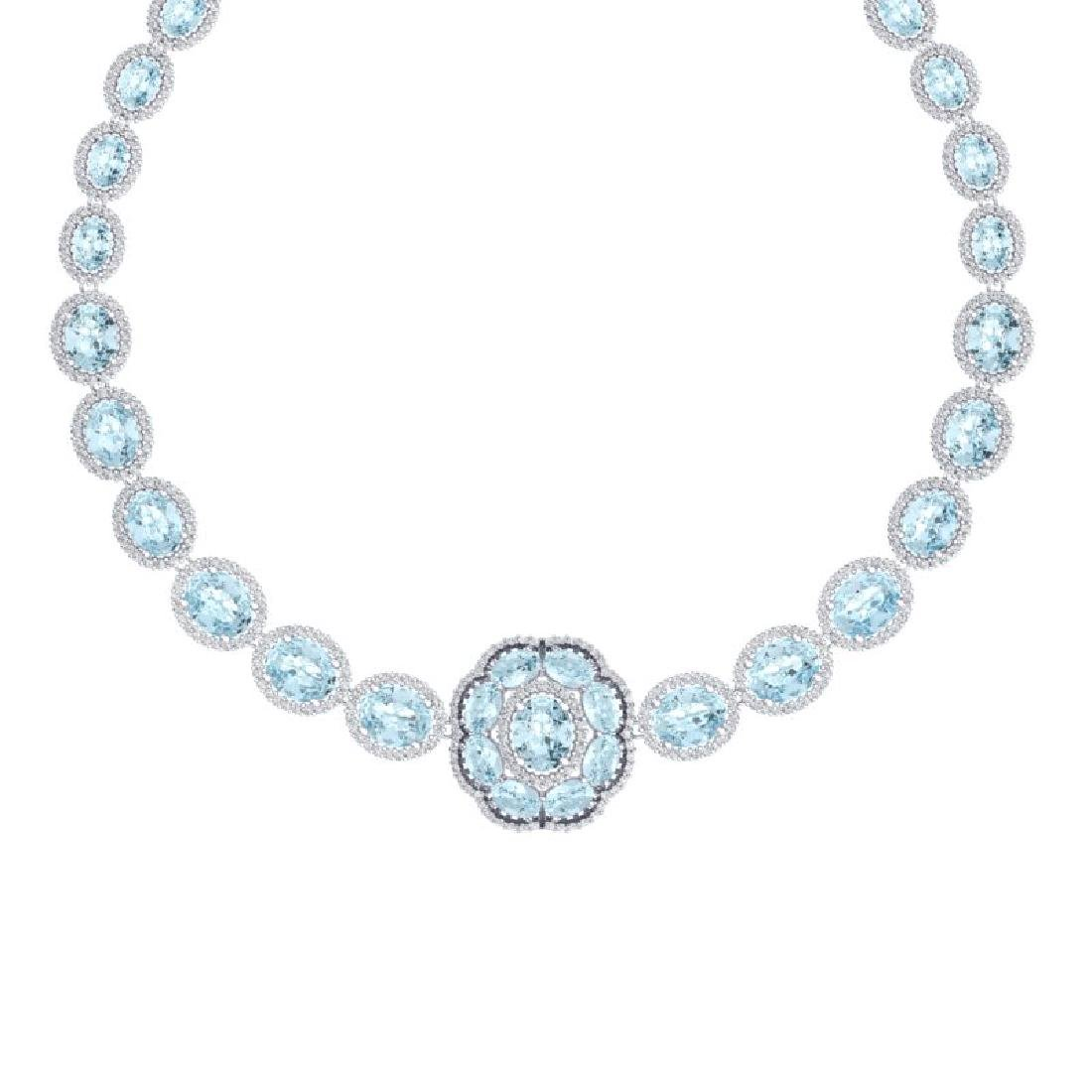 52.67 CTW Royalty Sky Topaz & VS Diamond Necklace 18K - 2