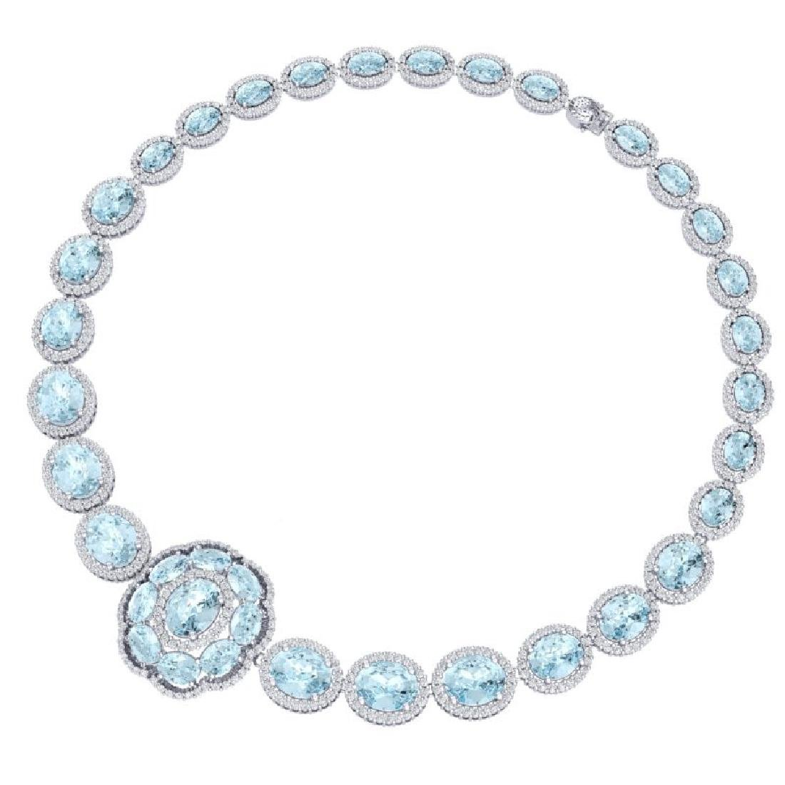 52.67 CTW Royalty Sky Topaz & VS Diamond Necklace 18K - 3