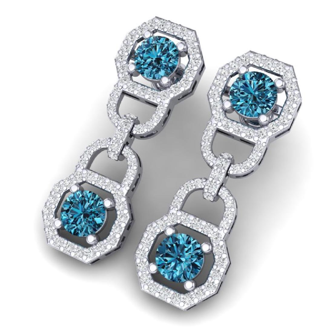 4 CTW SI/I Intense Blue And White Diamond Earrings 18K