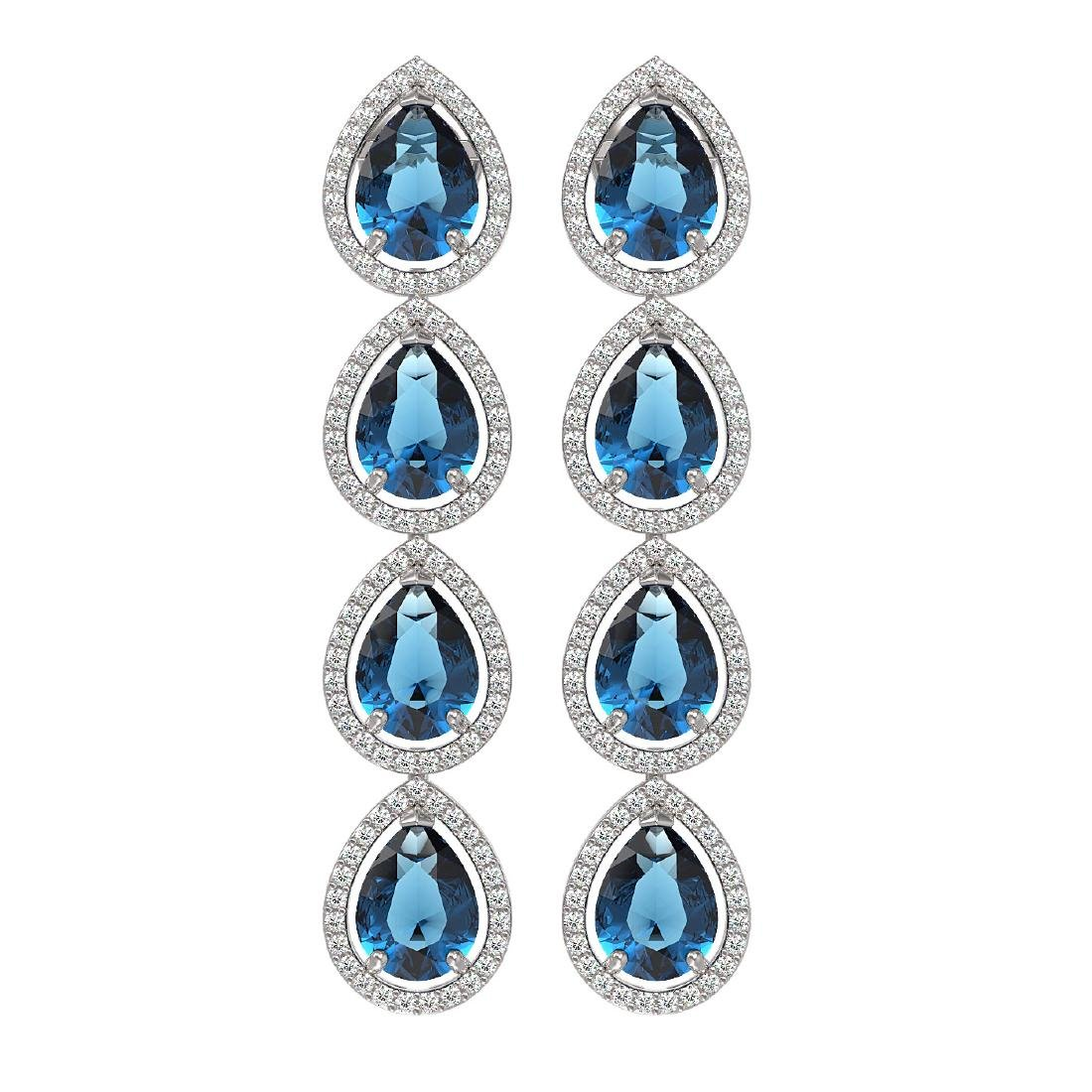 11.2 CTW London Topaz & Diamond Halo Earrings 10K White