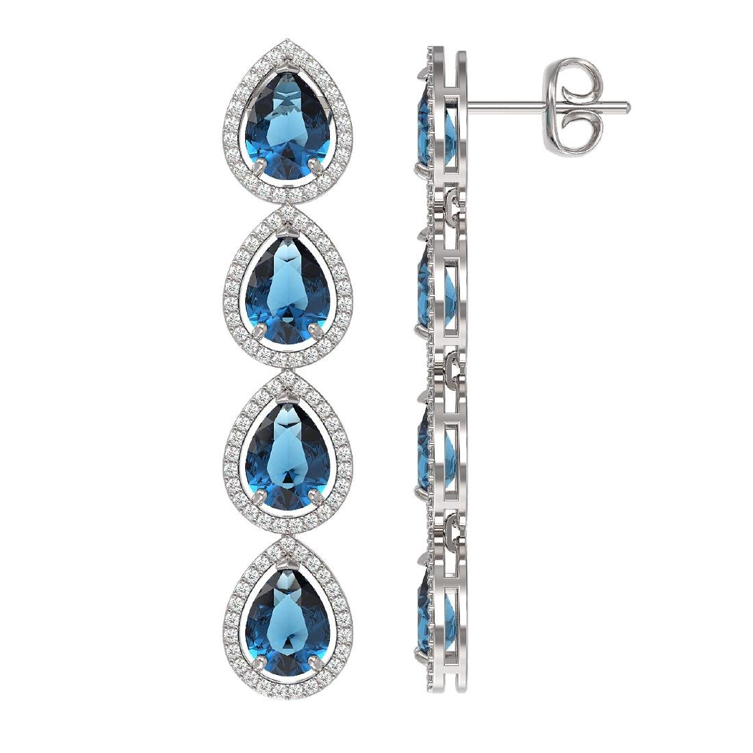 11.2 CTW London Topaz & Diamond Halo Earrings 10K White - 2