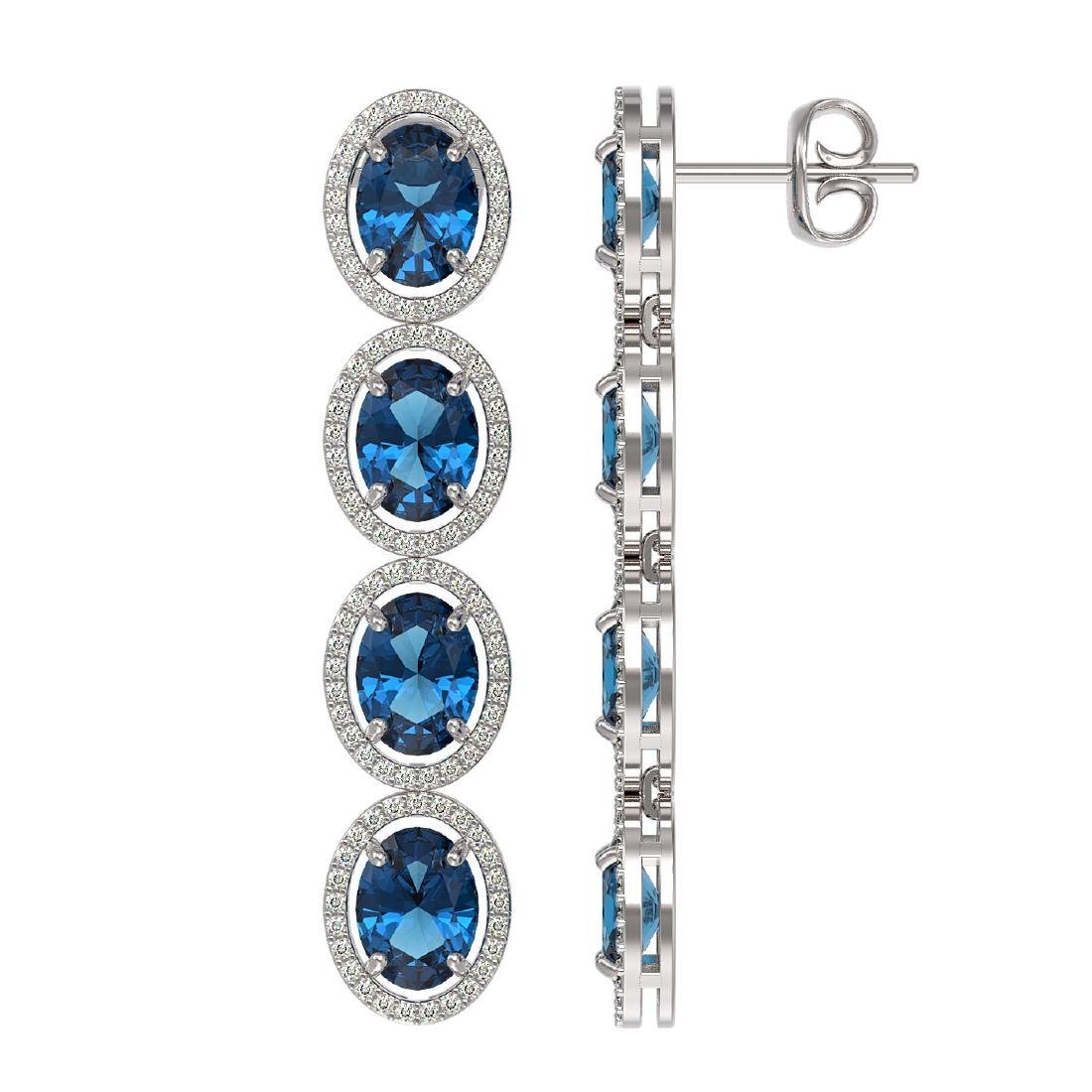14.76 CTW London Topaz & Diamond Halo Earrings 10K - 2