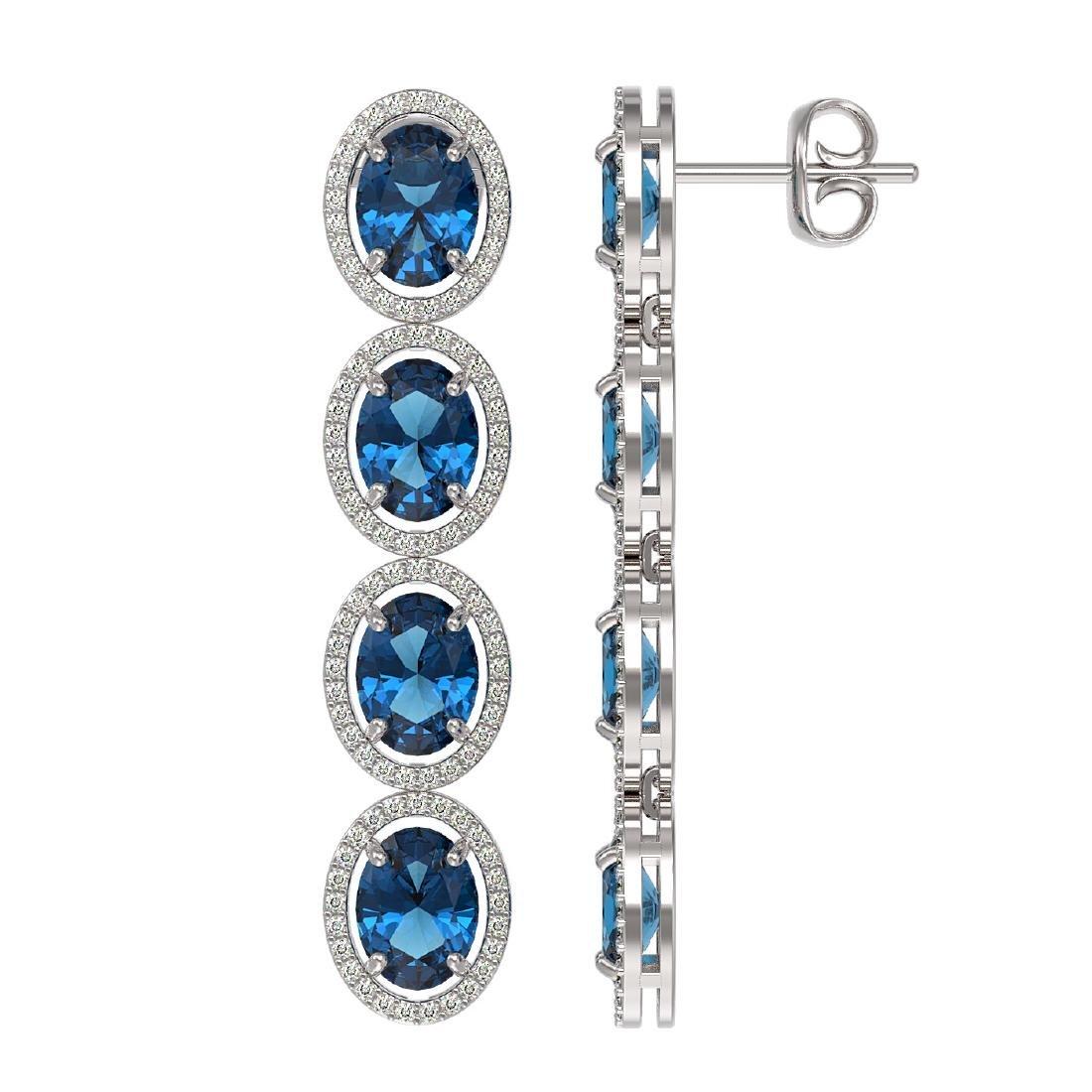 14.76 CTW London Topaz & Diamond Halo Earrings 10K - 2