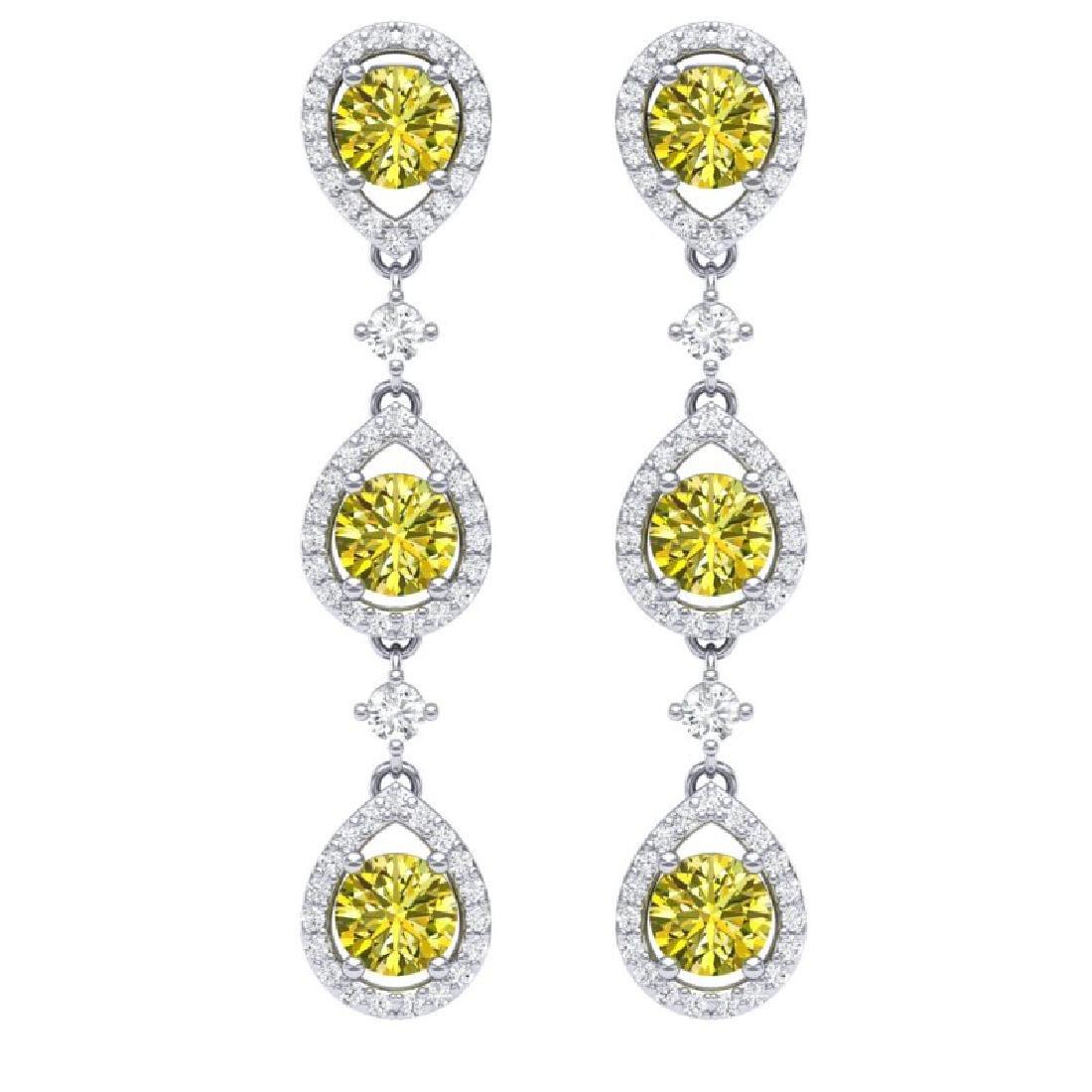 5.11 CTW Fancy Yellow SI Diamond Earrings 18K White