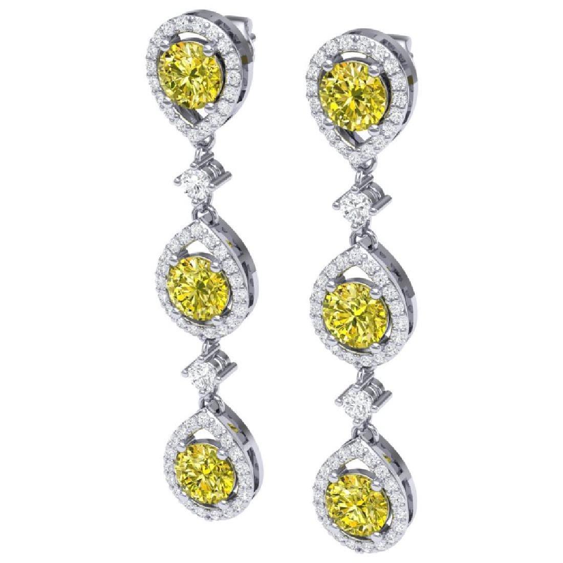 5.11 CTW Fancy Yellow SI Diamond Earrings 18K White - 2