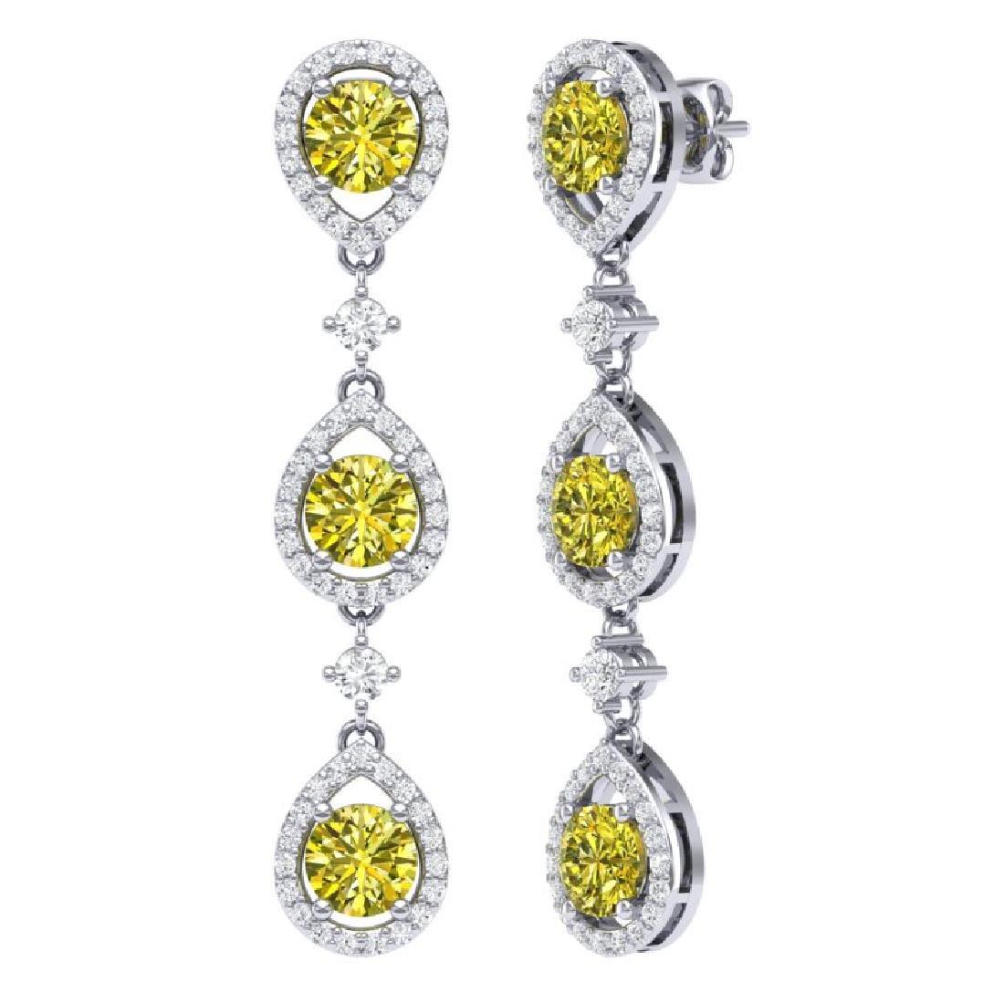 5.11 CTW Fancy Yellow SI Diamond Earrings 18K White - 3