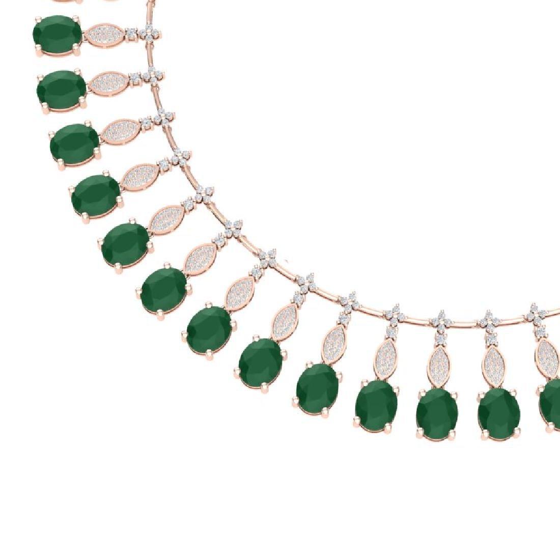 65.62 CTW Royalty Emerald & VS Diamond Necklace 18K