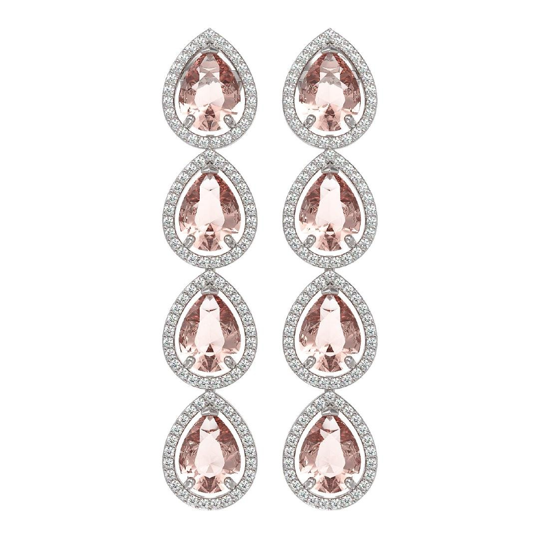 10.4 CTW Morganite & Diamond Halo Earrings 10K White