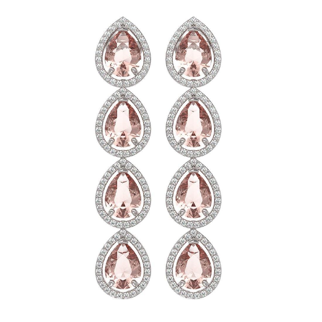 10.4 CTW Morganite & Diamond Halo Earrings 10K White