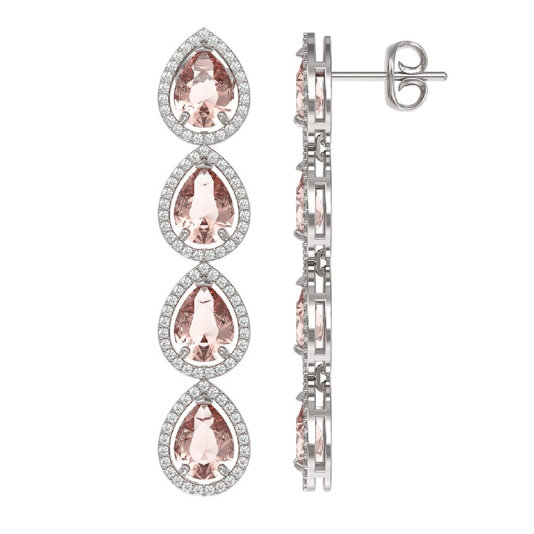 10.4 CTW Morganite & Diamond Halo Earrings 10K White - 2