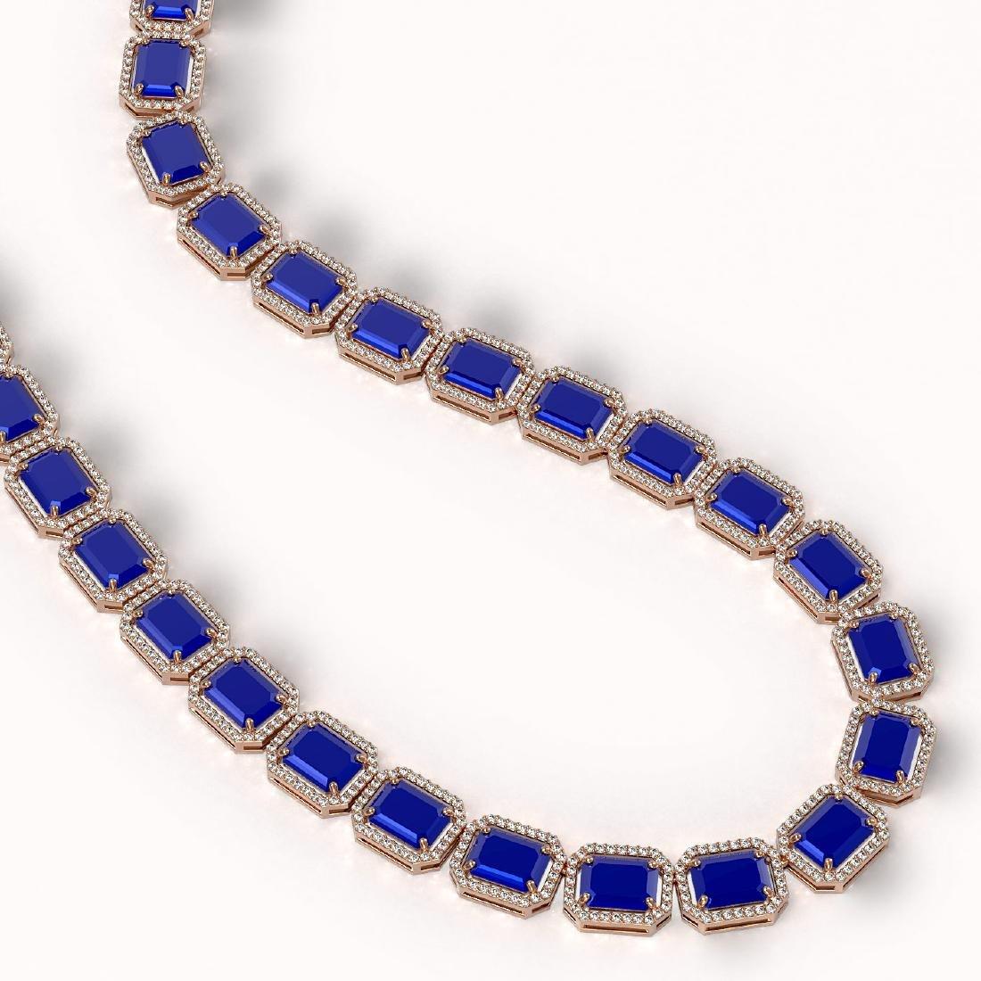 84.94 CTW Sapphire & Diamond Halo Necklace 10K Rose - 2