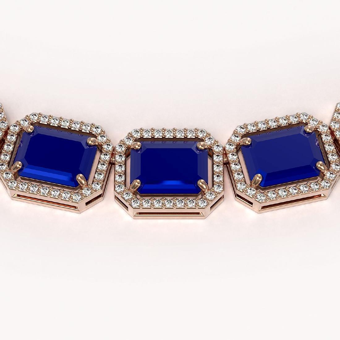 84.94 CTW Sapphire & Diamond Halo Necklace 10K Rose - 3