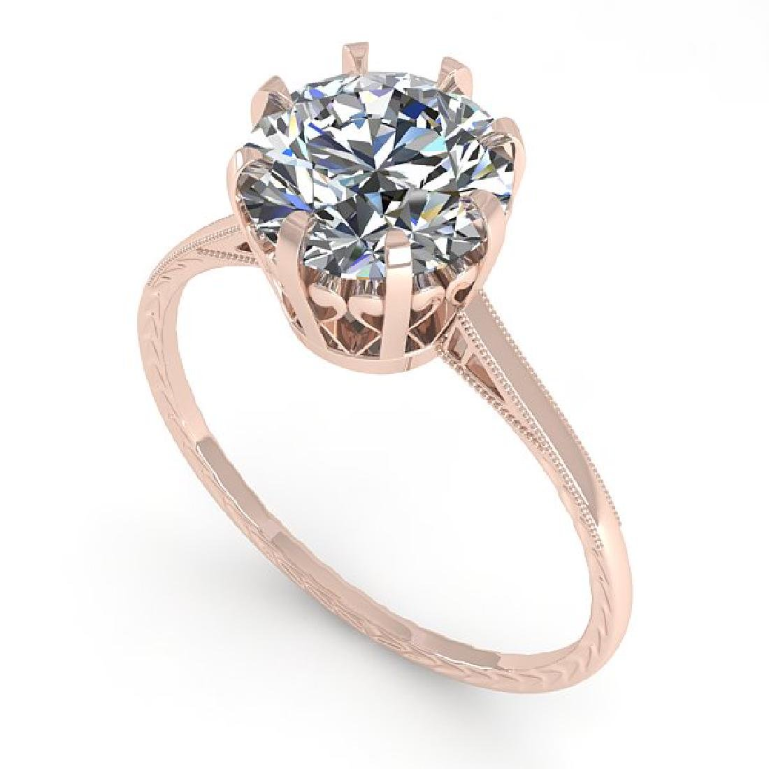 2 CTW VS/SI Diamond Solitaire Engagement Ring 18K Rose - 2