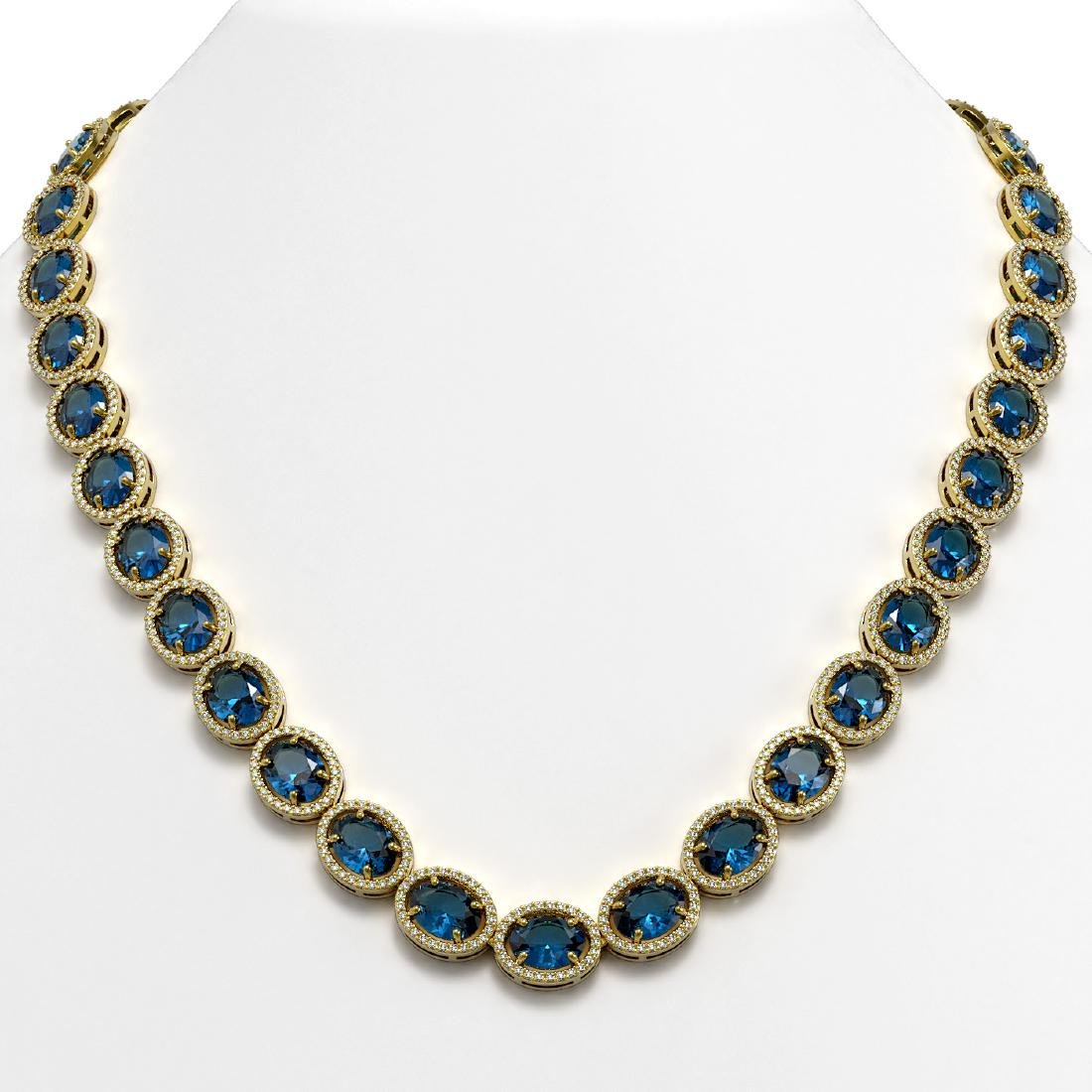 68.17 CTW London Topaz & Diamond Halo Necklace 10K