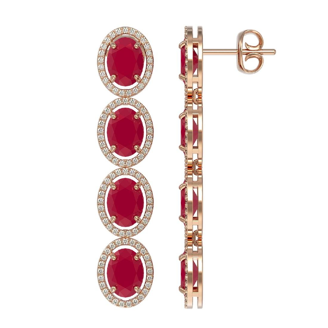 15.68 CTW Ruby & Diamond Halo Earrings 10K Rose Gold