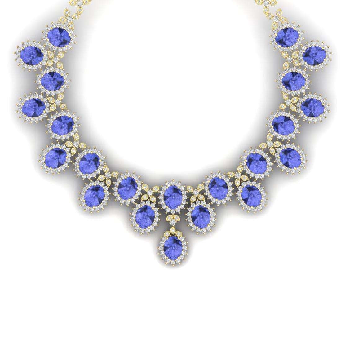 86 CTW Royalty Tanzanite & VS Diamond Necklace 18K