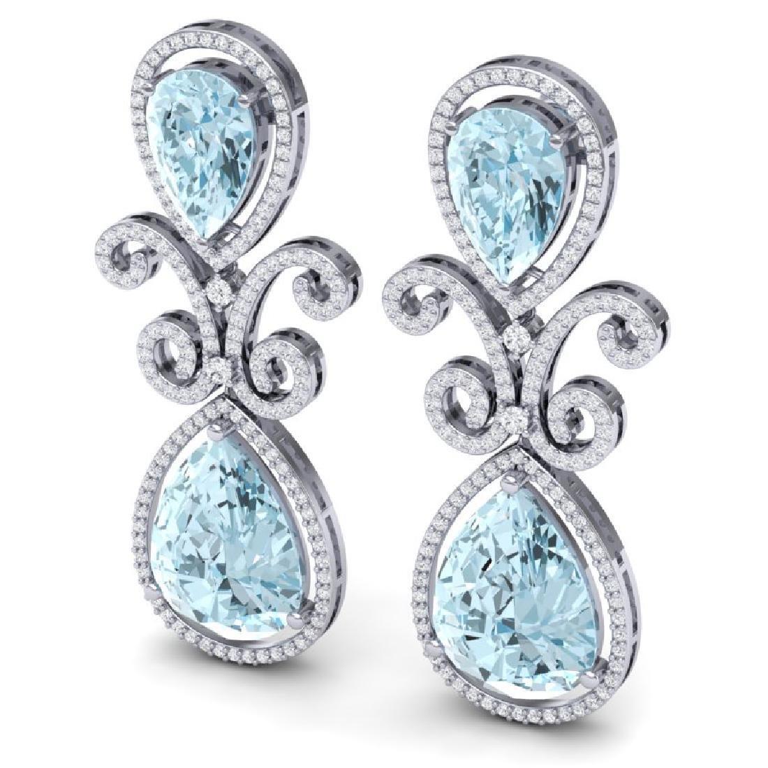 30.49 CTW Royalty Sky Topaz & VS Diamond Earrings 18K - 2