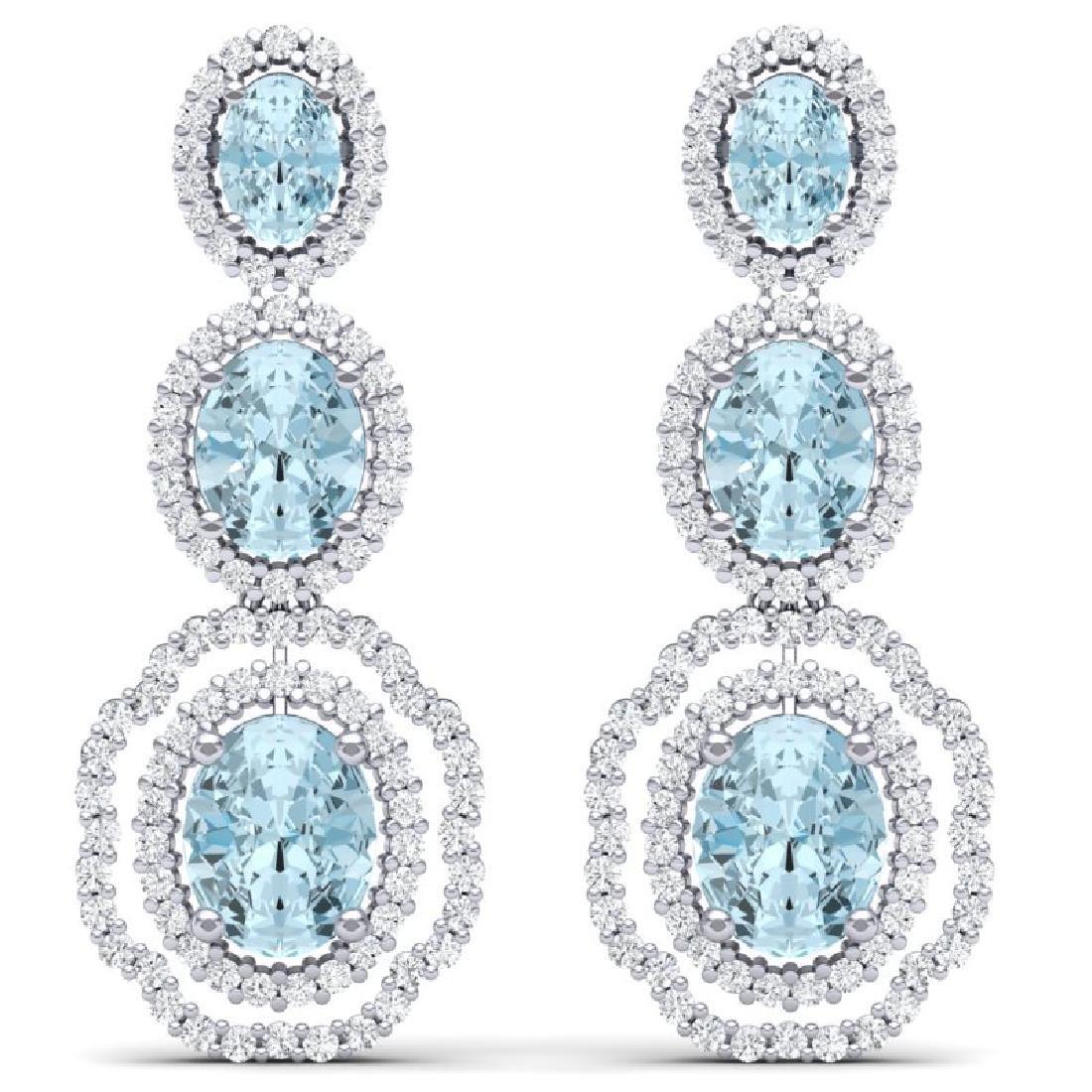 17.46 CTW Royalty Sky Topaz & VS Diamond Earrings 18K