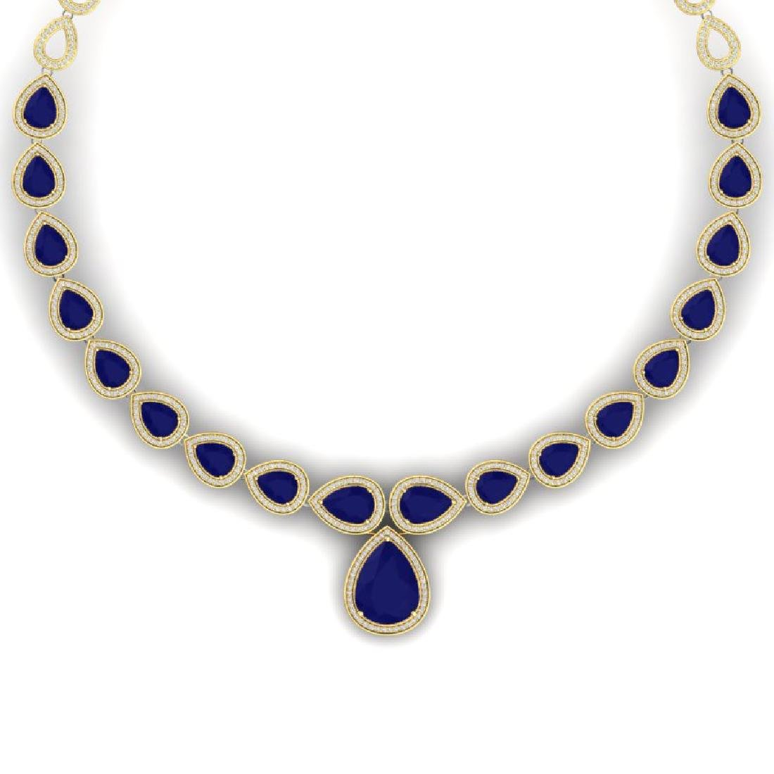 51.41 CTW Royalty Sapphire & VS Diamond Necklace 18K