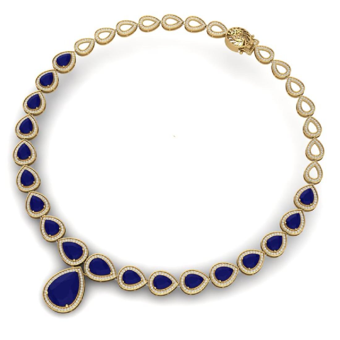 51.41 CTW Royalty Sapphire & VS Diamond Necklace 18K - 3