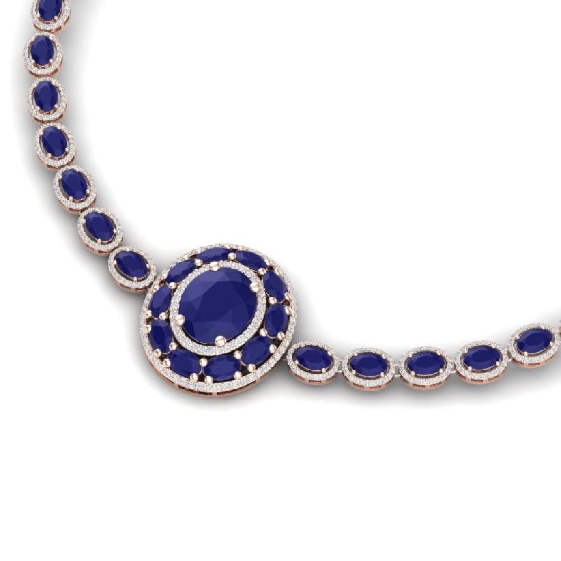 43.54 CTW Royalty Sapphire & VS Diamond Necklace 18K