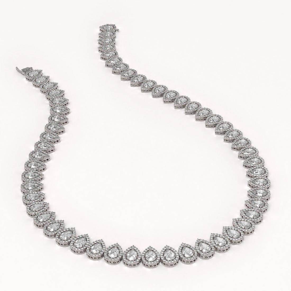 42.11 CTW Pear Diamond Designer Necklace 18K White Gold - 2