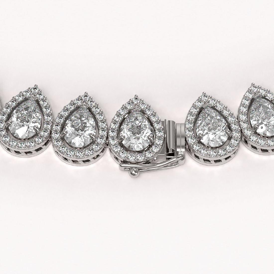 42.11 CTW Pear Diamond Designer Necklace 18K White Gold - 3
