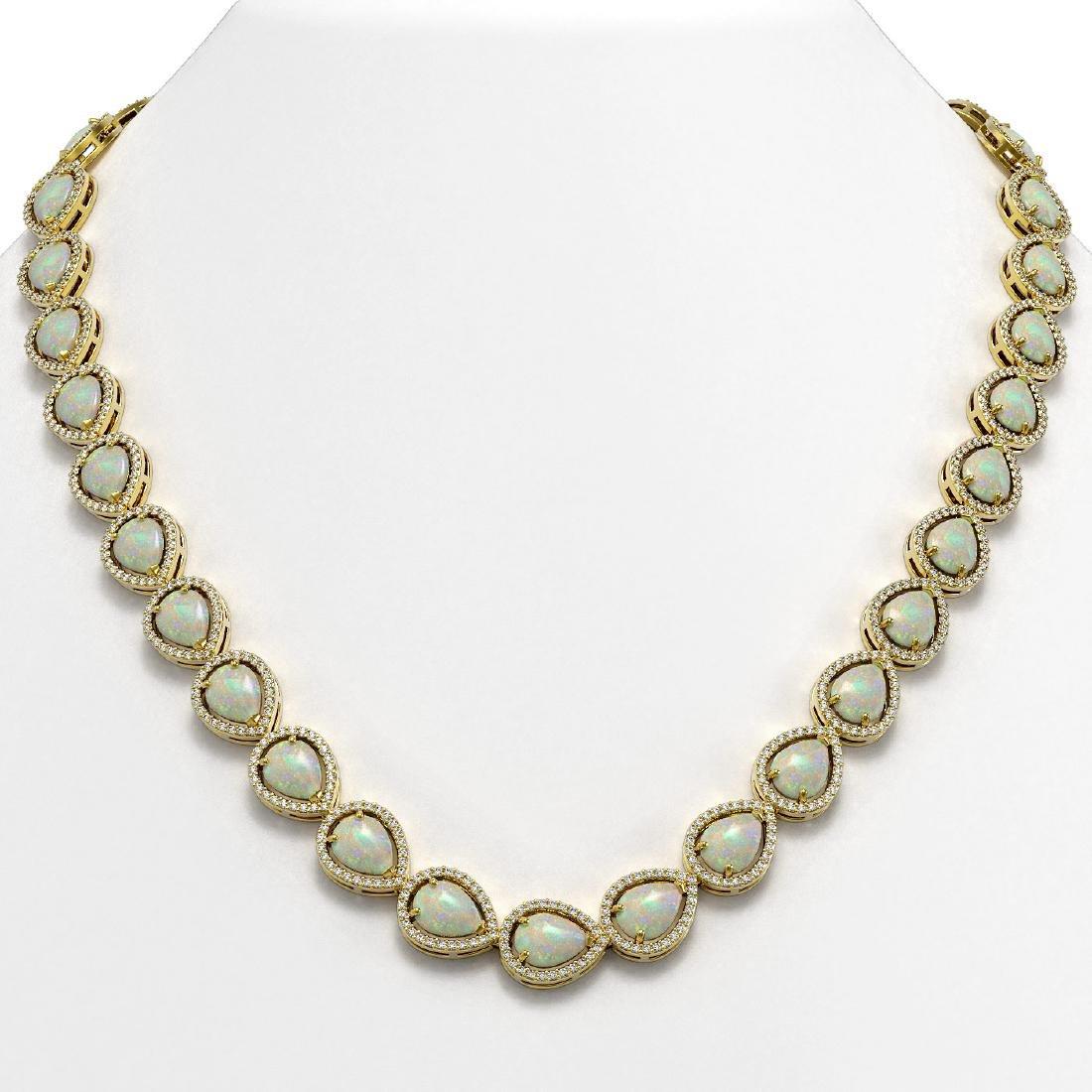 36.48 CTW Opal & Diamond Halo Necklace 10K Yellow Gold