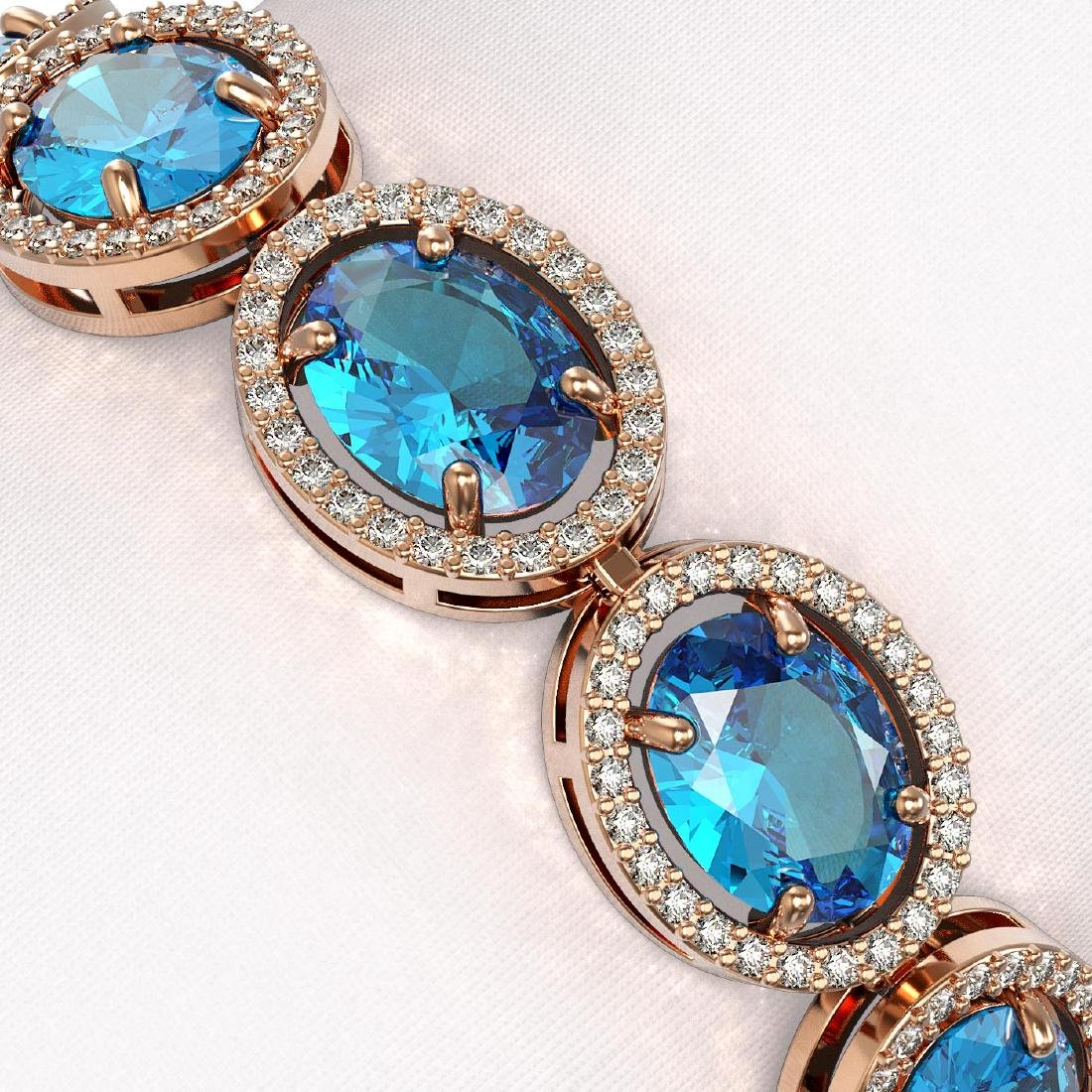 29.53 CTW Swiss Topaz & Diamond Halo Bracelet 10K Rose - 3