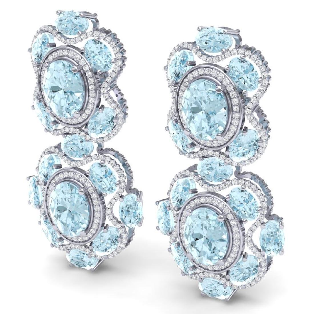 34.96 CTW Royalty Sky Topaz & VS Diamond Earrings 18K - 2