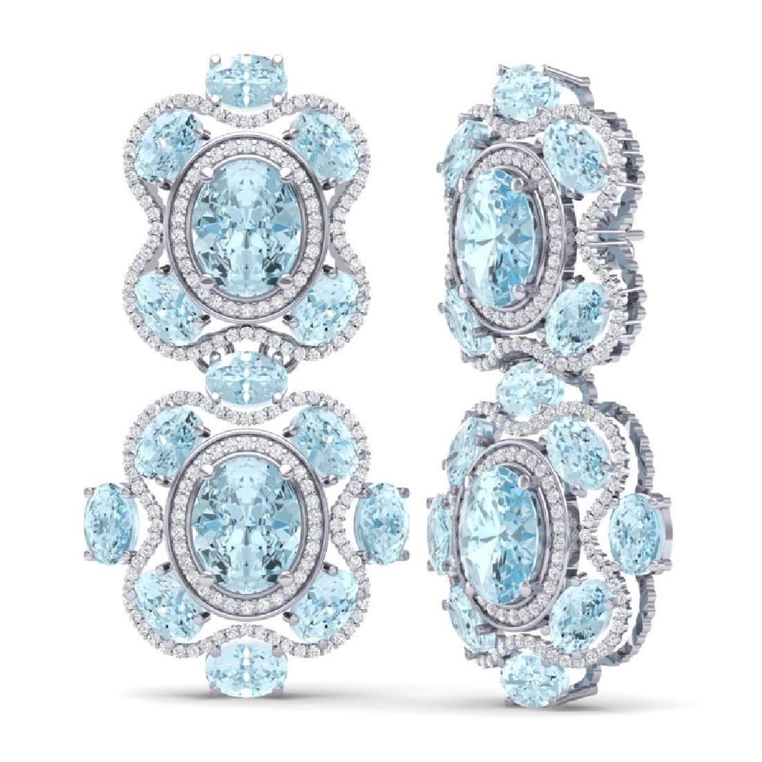 34.96 CTW Royalty Sky Topaz & VS Diamond Earrings 18K - 3