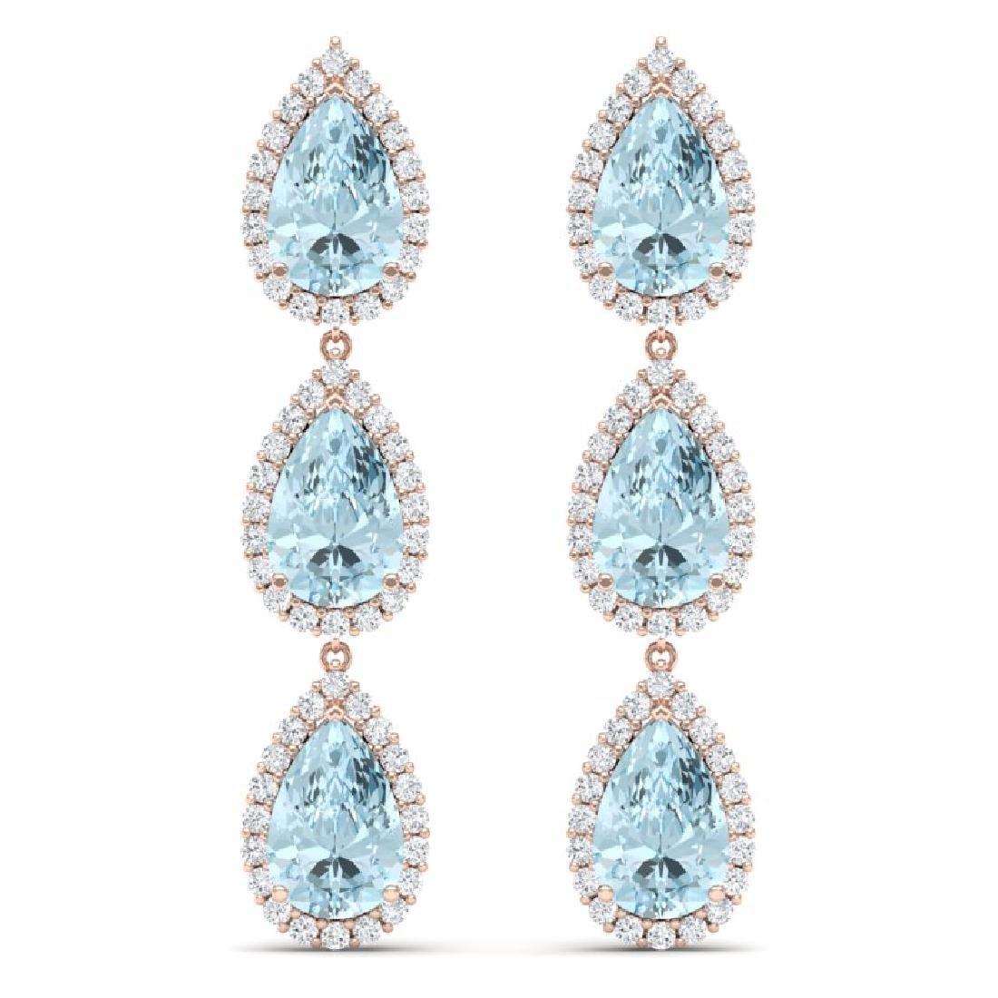 27.3 CTW Royalty Sky Topaz & VS Diamond Earrings 18K